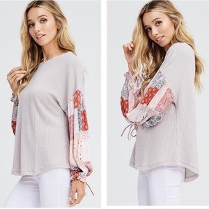 Contrast Sleeve Gray Thermal Top